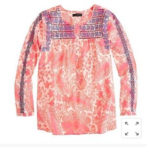 J. Crew embroidered button popover blouse top 4
